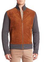Ralph Lauren Purple Label Colorblock Suede Blend Jacket