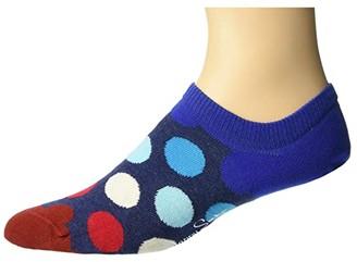 Happy Socks Big Dot Sneaker Liner (Navy/Red) Men's Crew Cut Socks Shoes