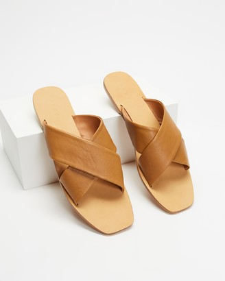 AERE - Women's Brown Flat Sandals - Crossover Leather Slides - Size 6 at The Iconic
