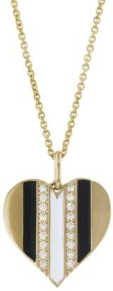 Sydney Evan Black and White Enamel Diamond Heart EXT Tiffany Necklace - Yellow Gold