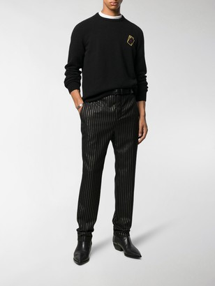 Saint Laurent Metallic-Pinstripe Tailored Trousers