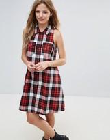 Noisy May A-Line Check Shirt Dress