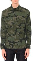 Valentino Camo-Print Long-Sleeve Military Shirt, Green Multi