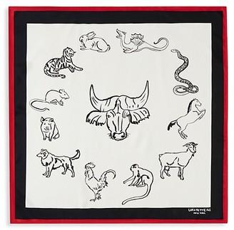 Lafayette 148 New York Zodiac Sketch Print Silk Scarf