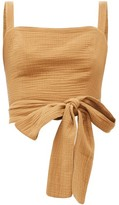 Loup Charmant Pilos Cotton Wrap Crop Top - Womens - Tan