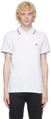 Moncler White Pique Polo