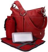 OiOi Leather 2-Pocket Hobo Diaper Bag w/Taupe Lining - Red