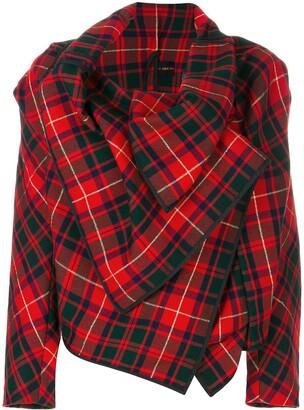 Comme Des Garçons Pre Owned Asymmetric Tartan Jacket
