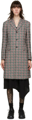 Comme des Garçons Homme Plus Pink and Green Check Back Cut-Out Coat