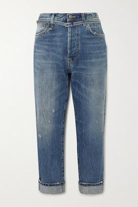 R 13 Hayden Paperbag Belted High-rise Straight-leg Jeans - Mid denim