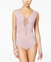 Say What ? Juniors' Sleeveless Lace-Up Bodysuit
