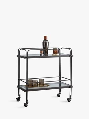 west elm Fulton Glass Bar Cart, Clear/Bronze