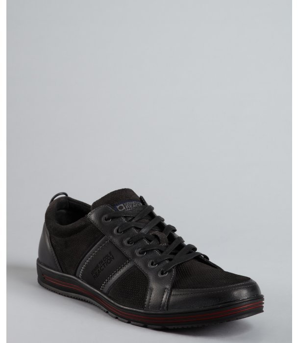 Kenneth Cole Reaction black leather and suede 'Final Stripe' sneakers