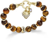 Charter Club Gold-Tone Brown Bead Charm Bracelet, Only at Macy's