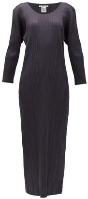 Pleats Please Issey Miyake Technical-pleated Longline Dress - Womens - Dark Grey