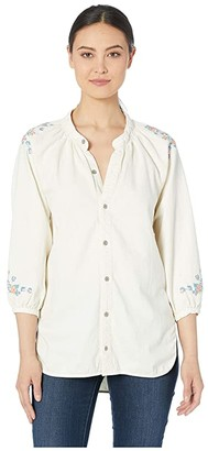 Lucky Brand Peasant Shirt with Embroidery (Ecru) Women's Clothing