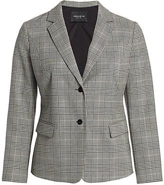Lafayette 148 New York, Plus Size Thatcher Glen Plaid Stretch-Wool Blazer
