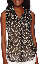 Liz Claiborne Sleeveless Woven Button-Front Shirt