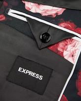 Express Slim Black Floral Tuxedo Jacket