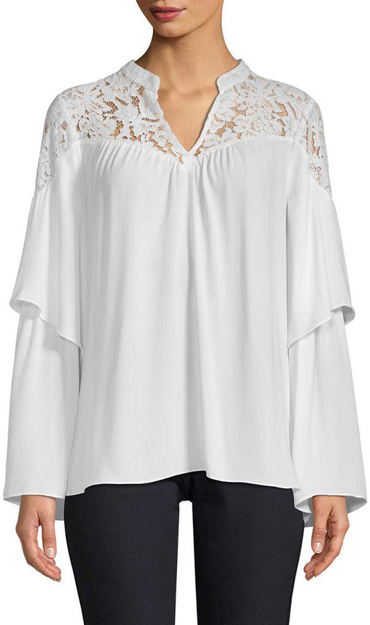 Thumbnail for your product : BCBGMAXAZRIA Lace-Trimmed Blouse