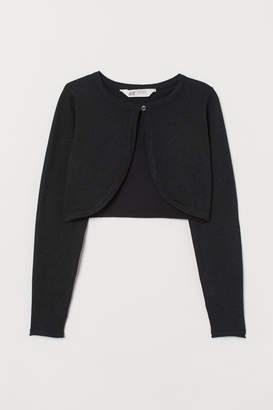 H&M Fine-knit Bolero Jacket - Black