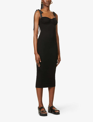 Reformation Zora ribbon-strap jersey midi dress