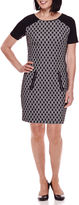 Sag Harbor Short-Sleeve Modern Geo Jacquard-Knit Dress