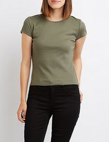 Charlotte Russe Ribbed Crew Neck Tee
