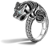 John Hardy Classic Chain Sterling Silver Lava Macan Ring with Black Sapphire, Black Spinel and Swiss Blue Topaz Eyes