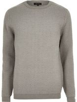 River Island MensGrey textured knitted crew neck sweater