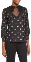 Marc Jacobs Tulip-Print Lace-Inset Blouse, Black/Multi