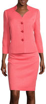 Le Suit Three-Button 3/4-Sleeve Jacquard Jacket and Skirt Suit