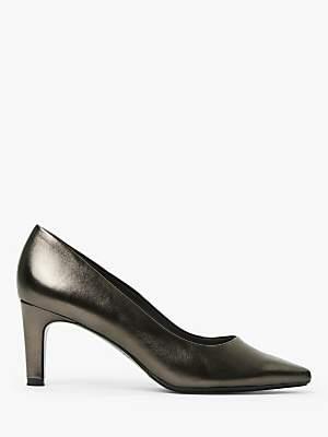 Peter Kaiser Ressa Prata Mid Heel Leather Court Shoes, Pewter