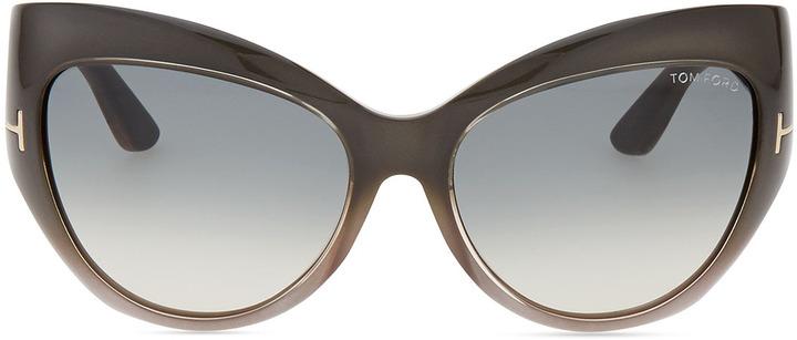 Tom Ford Bardot Sharp Cat-Eye Sunglasses, Gray
