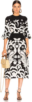 Valentino Graphic Midi Dress in Nero & Avori | FWRD