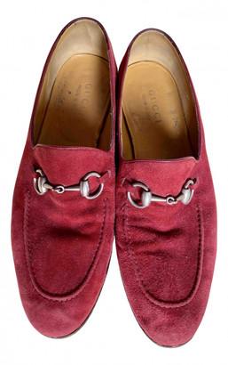 Gucci Jordaan Burgundy Suede Flats