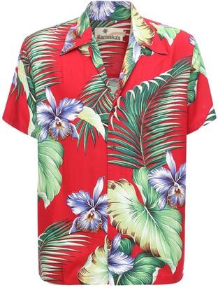 Manoa Red Printed Hawaiian Shirt