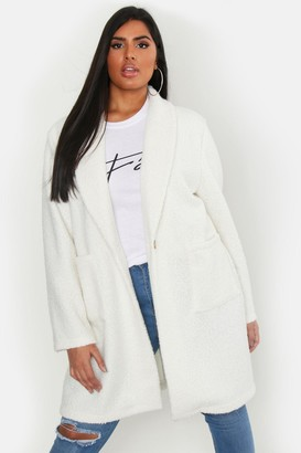 boohoo Plus Faux Teddy Duster Jacket