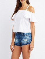 Charlotte Russe Cold Shoulder Ruffle Sleeve Top