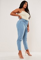 Missguided Plus Size Blue High Waist Comfort Stretch Mom Jean