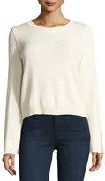 Ramy Brook Misha Shredded-Trim Sweater, Ivory