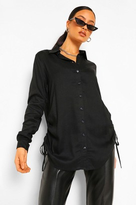 boohoo Tall Woven Ruched Side Shirt
