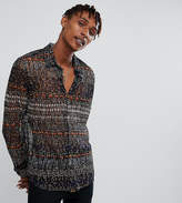 Reclaimed Vintage Inspired Lace Pattered Shirt With Short Sleeves