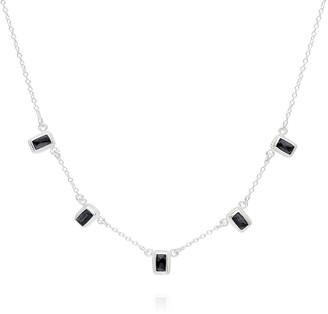 Anna Beck Sterling Silver Baguette Hematite Station Necklace