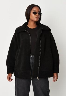 Missguided Plus Size Black Ultimate Aviator Coat
