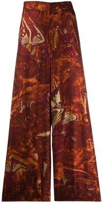 Romeo Gigli Pre-Owned 1990's angles print wide-legged trousers