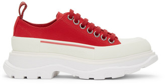 Alexander McQueen Red Tread Slick Platform Low Sneakers