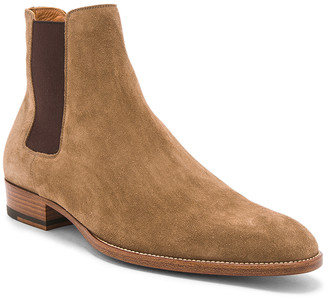 Saint Laurent Suede Wyatt Chelsea Boots in Light Cigar | FWRD