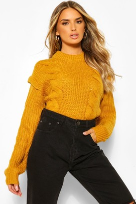 boohoo Cable Knit Shoulder Pad sweater