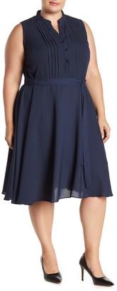 Nanette Nanette Lepore Sleeveless Solid Pintuck Pleat Waist Tie Dress (Plus Size)
